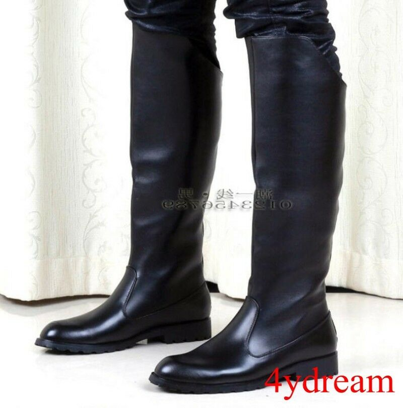 British Mens Knight Black Riding Military Combat Tall High Boots Shoes Western