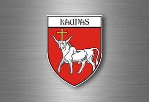 Autocollant-sticker-voiture-moto-blason-ville-drapeau-ecusson-kaunas-lituanie