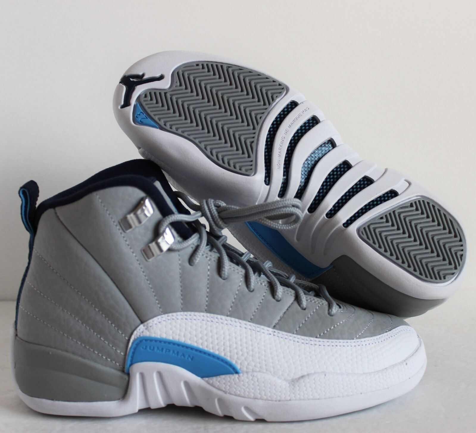 NIKE AIR JORDAN 12 RETRO BG WOLF GREY-UNI BLUE SZ 3.5Y-WOMENS SZ 5 [153265-007]