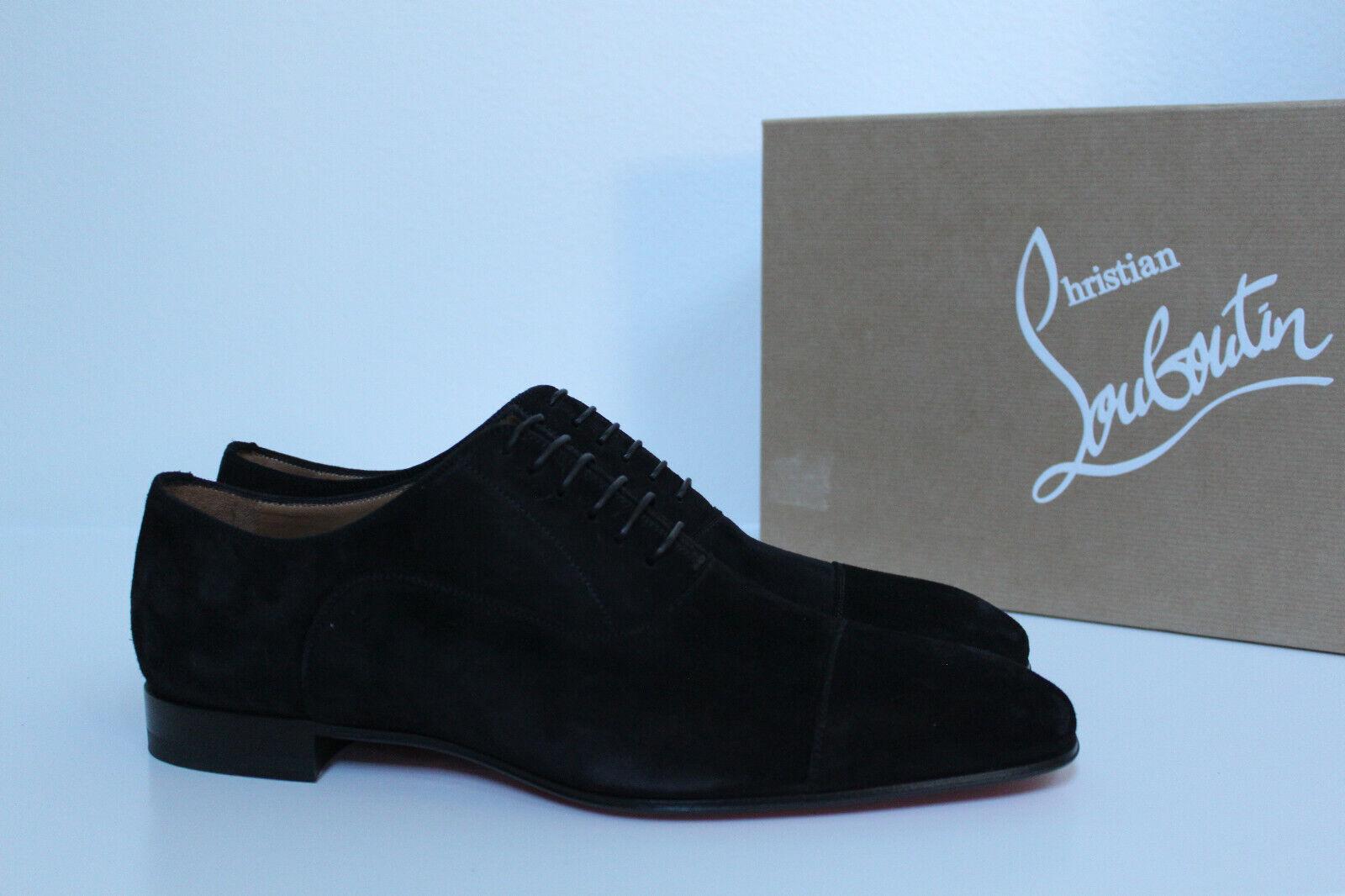Sz 7 US   40 Christian Louboutin Greggo Flat nero Suede Leather Oxford scarpe