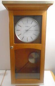 Vintage Howard Miller Dual Chime Pendulum Wood Wall Clock Ebay