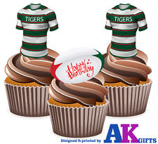 Precut Leicester City Happy Birthday 12 Edible Cupcake Toppers Cake
