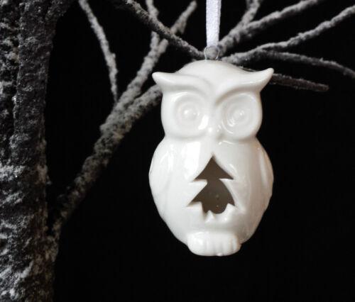 Porcelain White Owl Christmas Decoration Can Put fairy light inside Retro Chic