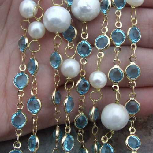 """blue Crystal  12mm round White Keshi Pearl 69/"""" Necklace"""