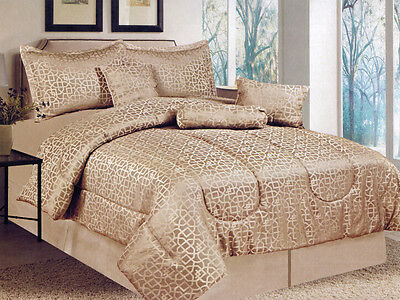7-Pc Royal Majestic Geometric Gold Beige Jacquard Comforter Set Queen