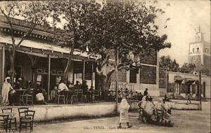 Tunis-Nordafrika-Afrika-Africa-1910-20-Cafe-Maure-Strassenpartie-am-Cafe-Personen