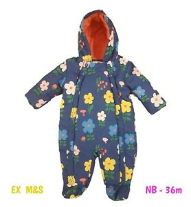 Baby Girls Quilted Floral Snowsuit Pramsuit Winter Coat Warm Hooded M+S 3m - 36m
