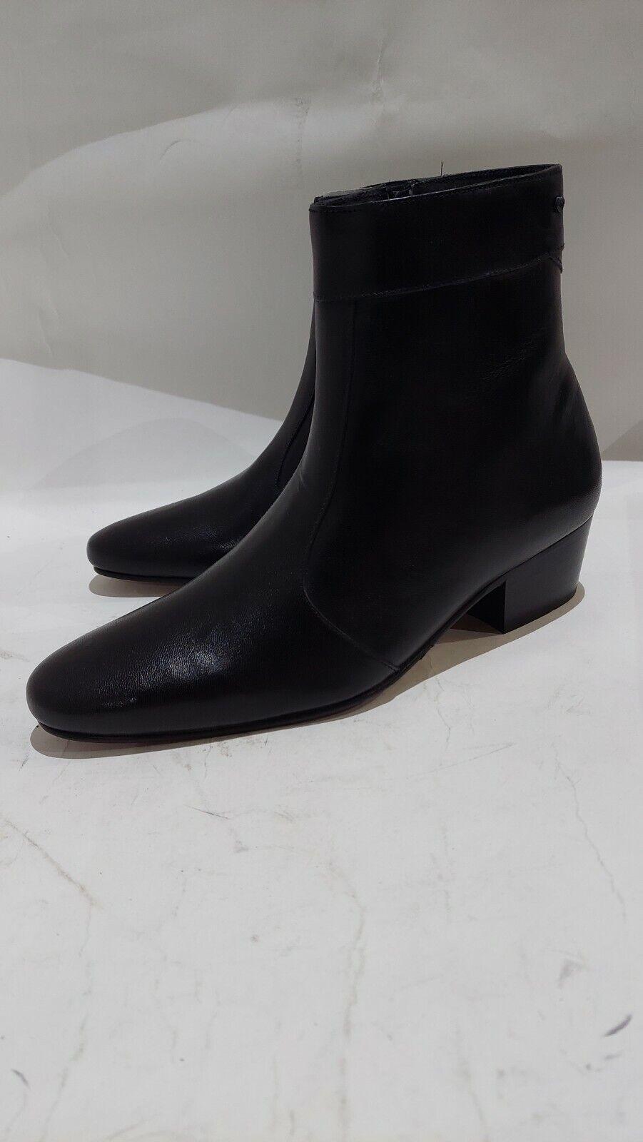Club Cubano CAESAR Mens Premium Leather Heel Ankle Boots Black Uk8 #418