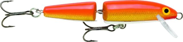 """Rapala 3 1//2/"""" Jointed Minnow J9-GFR in GOLD FLUORESCENT RED for Bass//Walleye"""