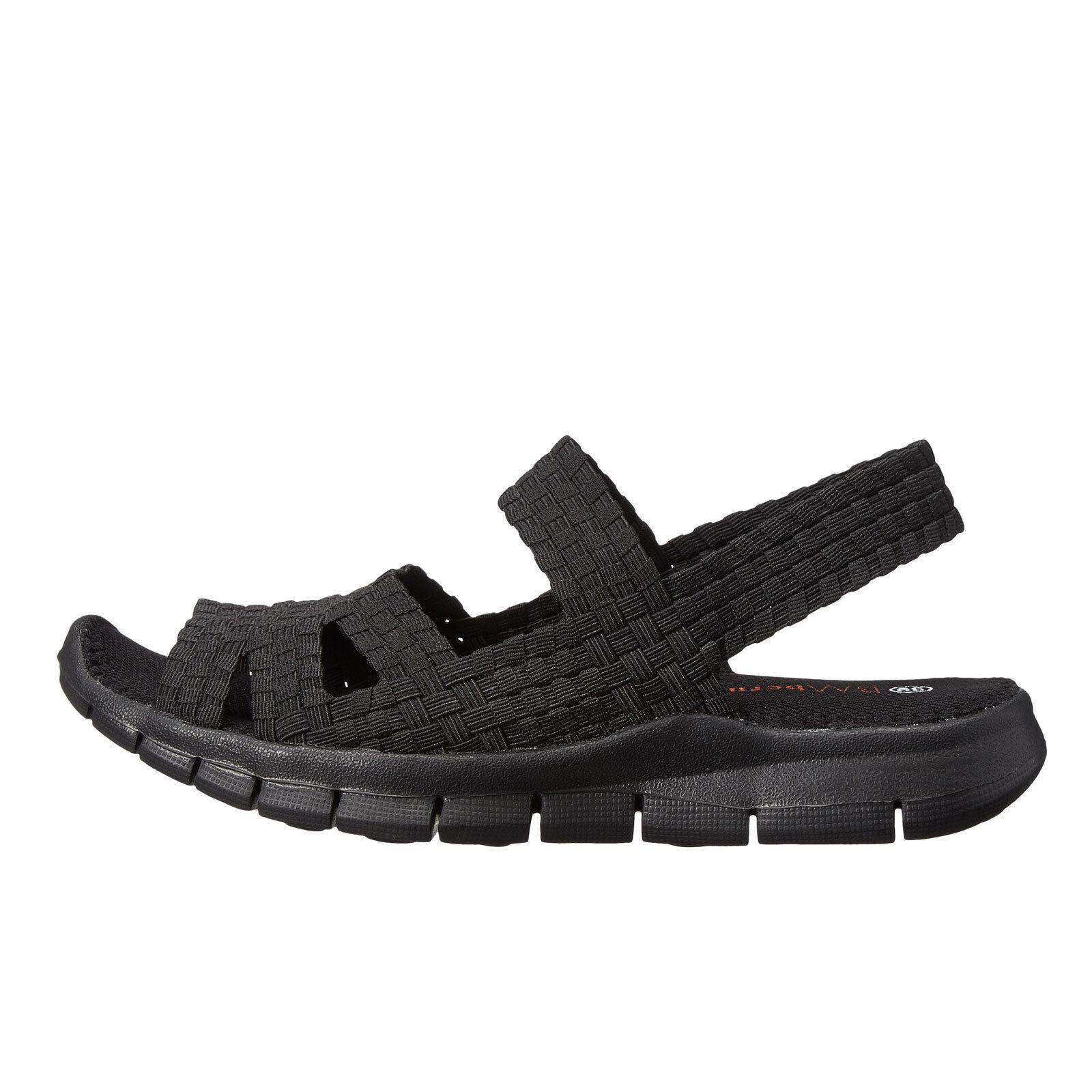 Bernie Mev. Cindy Black  Women's Casual Woven Slingback Sandals