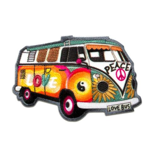 Pat Aufnäher // Bügelbild bunt Hippie Bus Bully Love Peace Auto 7,2x4,8cm