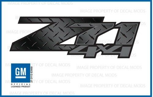 set of 2 2007-2013 Chevy Silverado Z71 4x4 Decals DPBLKFDG Diamond Plate Black