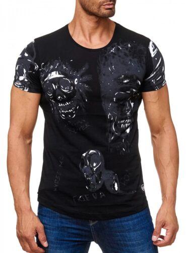 Manica Strass Camicia Stones Lupo T Corta Uomo Stampa neck shirt O 55zqSvR