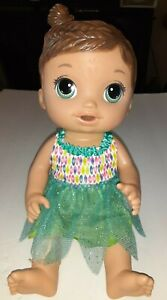 """2016 Baby Alive Face Paint Fairy Brunette Molded Hair 12"""" Drink & Wet Baby GUC"""