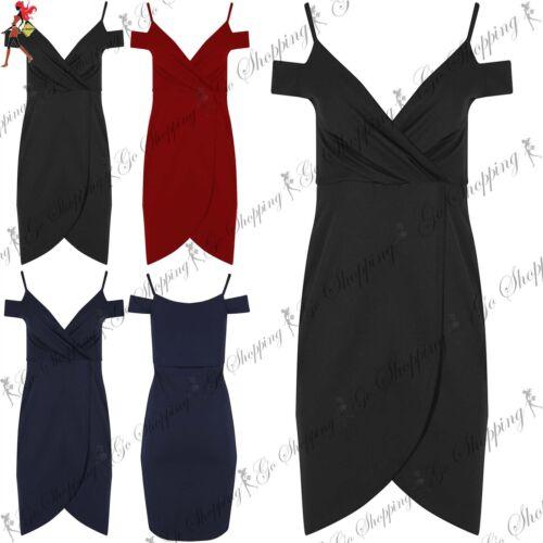 Womens Wrap Over Asymmetric Ladies Cold Cut Shoulder Strappy Bodycon Midi Dress