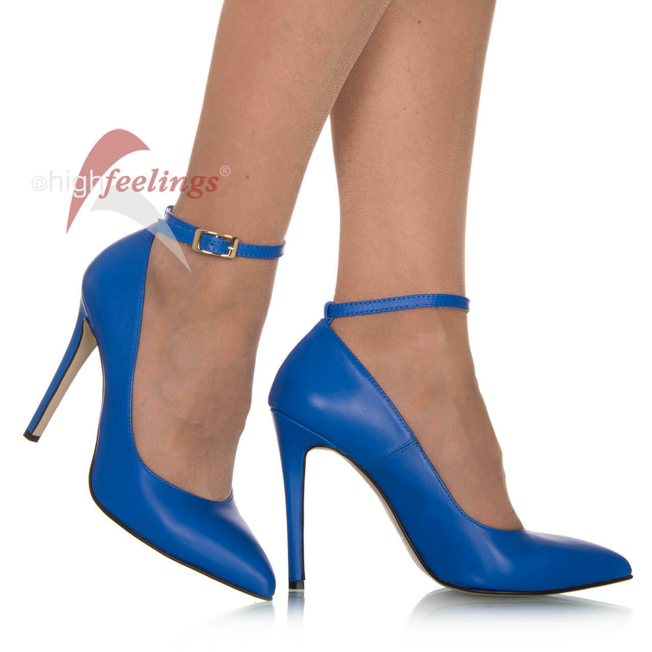 Cinturino alto, DA DONNA PUMPS blu tacco alto, Cinturino paragrafo 10,5 12 cm cuoio mis. 36 47 dcf02a