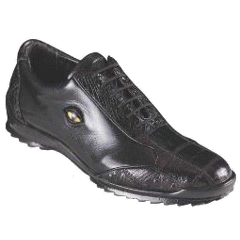 Los Altos Genuino Negro Cocodrilo vientre Informal Zapatos Con Cordones Zapatillas Extra Ancho Hecho a Mano