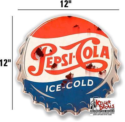 "12/"" RUSTY LOOKING ORANGE CRUSH CAP DECAL FOR SODA MACHINE WALL SIGN coca cola"