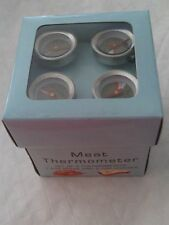 CUPINI DESIGNS SET OF 4  MEAT THERMOMETERS, 2 FOR STEAK & 2 FOR CHICKEN NEW