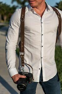 Dual-Harness-SLR-DSLR-Camera-Strap-Genius-Leather-Adjustable-Brown