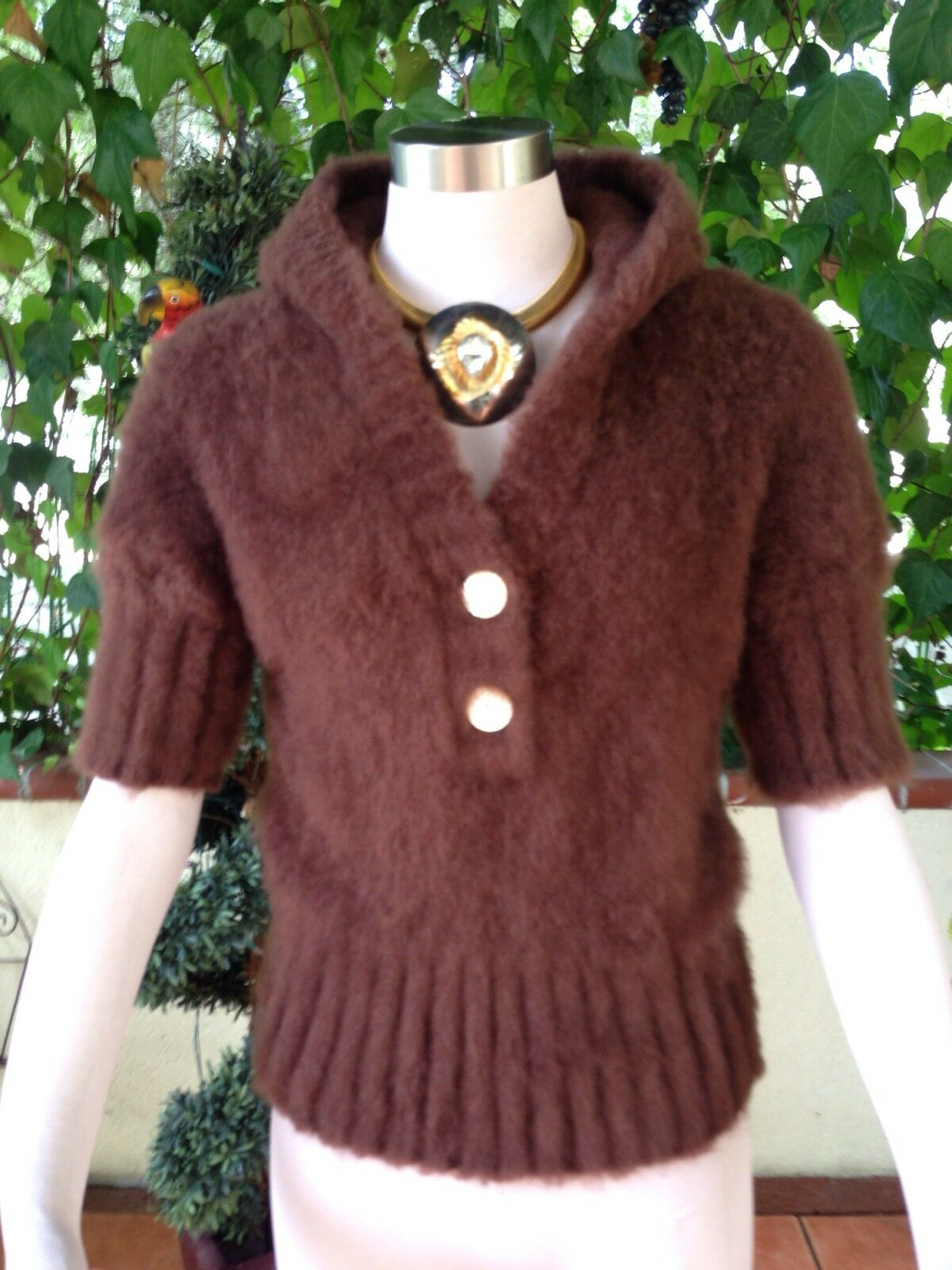 INDAH SOFT FLUFFY LONGHAIR MOHAIR HOODED CROP BROWN COLOR COLOR COLOR SWEATER  SIZE  S-M b33472