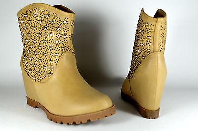 Damen Schuhe Stiefeletten mit Strass Sommer Boots Stiefel Keilabsatz Wedge A.166
