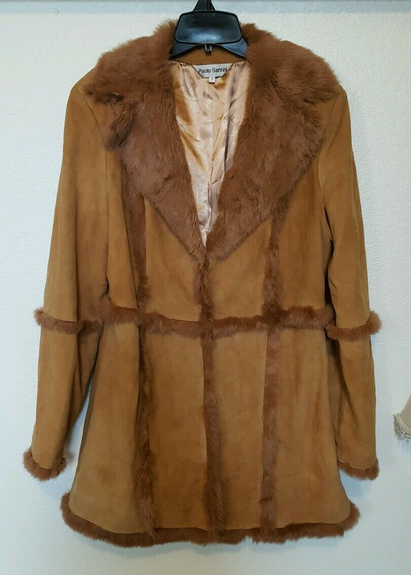PAOLO SANTINI tan suede and rabbit fur collared & trimmed coat Size 12