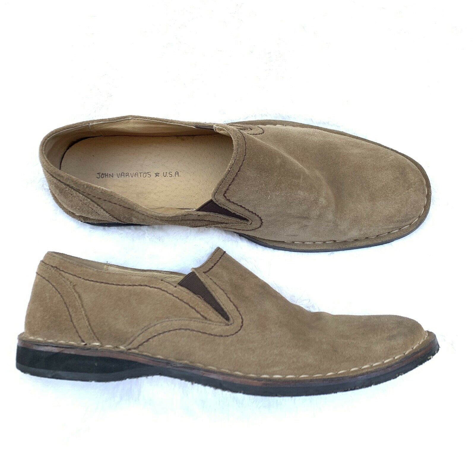 John Varvatos USA Loafers Slip On shoes Mens Size 12 Leather Suede Beige Sand