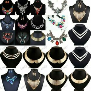 Fashion-Women-Crystal-Chunky-Pendant-Statement-Choker-Bib-Necklace-Jewelry-Chain