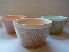 "3 Vintage Retro Pastel Raffia Ware Burlap bowls 4 1/2"" Diameter 2 3/4"" Tall"