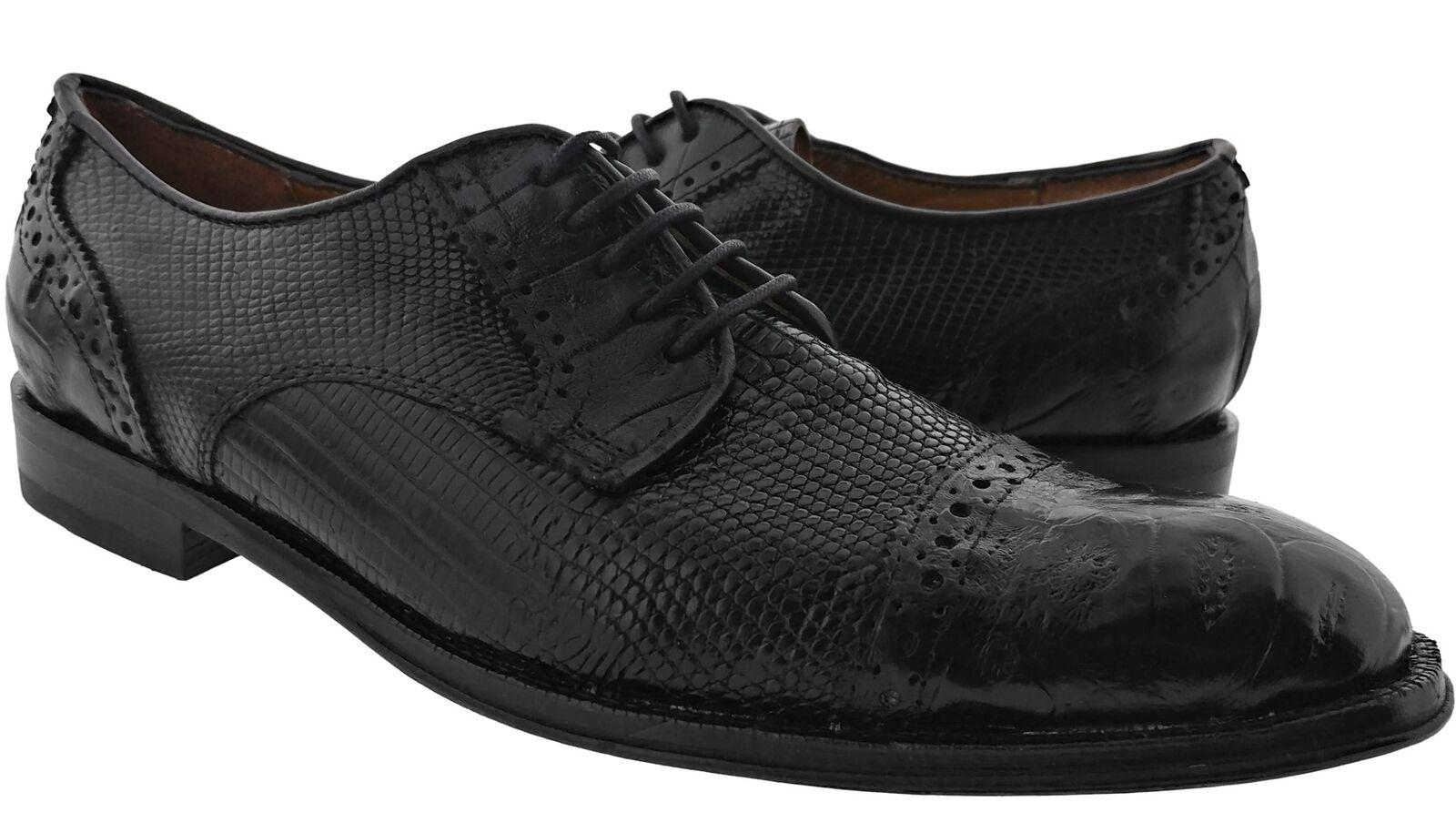 Men's Black Real Lizard Authentic Genuine Crocodile Skin Dress Shoes