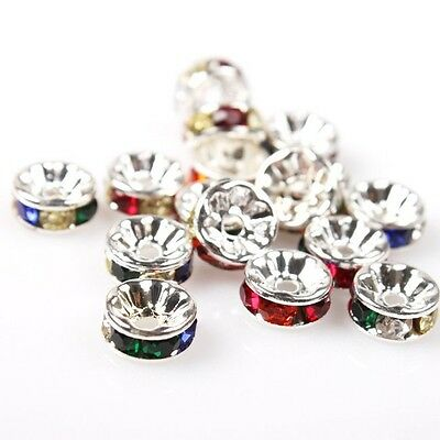 70/350pcs Hotsale Colorful Rhinestone Round Charms Plated Iron Spacer Beads 8mm