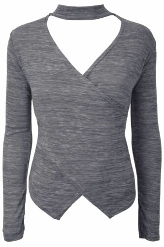 Womens Ladies Plain Long Sleeve Marl Knitted Wrap Over Choker V Neck Keyhole Top