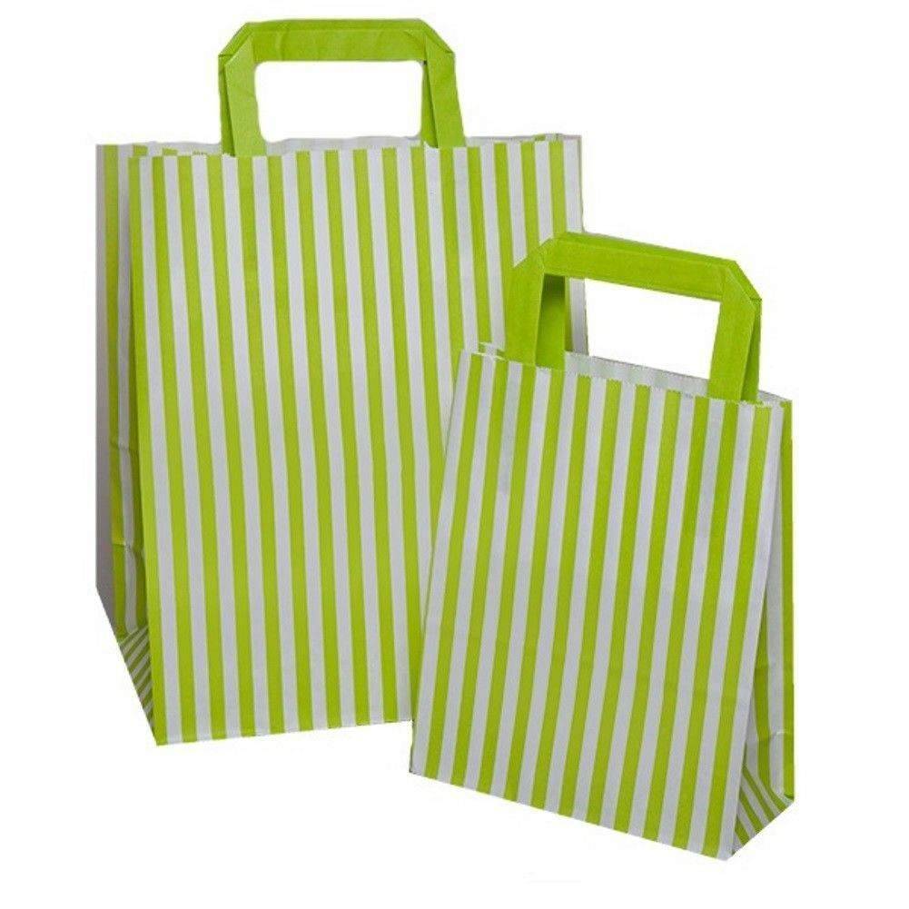 LIME Grün Candy Stripe Flat Handle SOS Bags  Birthday Party Paper Gift Bag