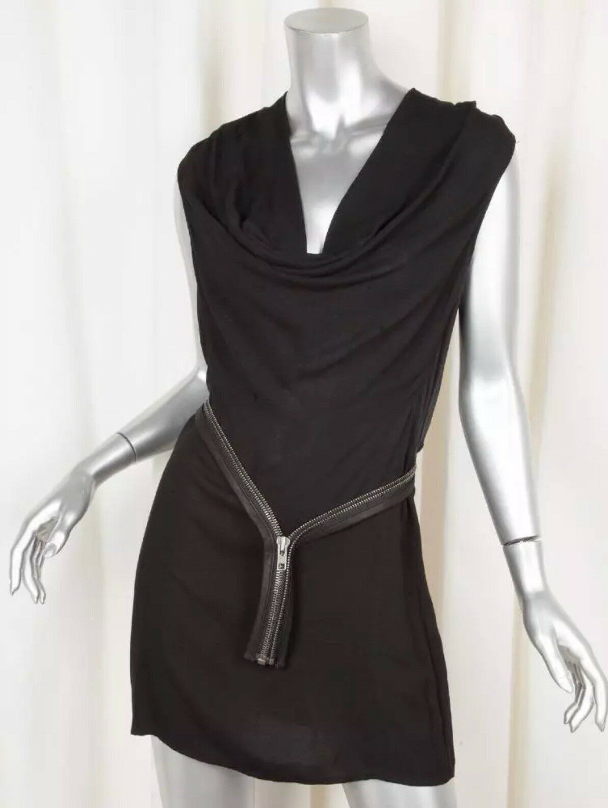 HELMUT LANG damen schwarz Cowl Neck Zipper Belt Sleeveless Shift Dress 2 Viscose