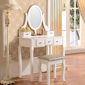 white vanity makeup dressing table set w stool 5 drawer mirror jewelry wood desk. Black Bedroom Furniture Sets. Home Design Ideas