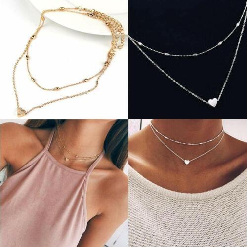 Gold ~ Choker ~ Multi Strand ~ Pendant Multi Layer Heart Necklace ~ Silver