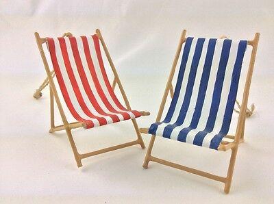 Small Nautical Wooden Red / Blue Striped Beach Lounge Chair / Deckchair Ornament
