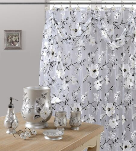 8Pcs Melarosa Gray High Quality Scarf Sheer shower Curtain set + Window Curtain