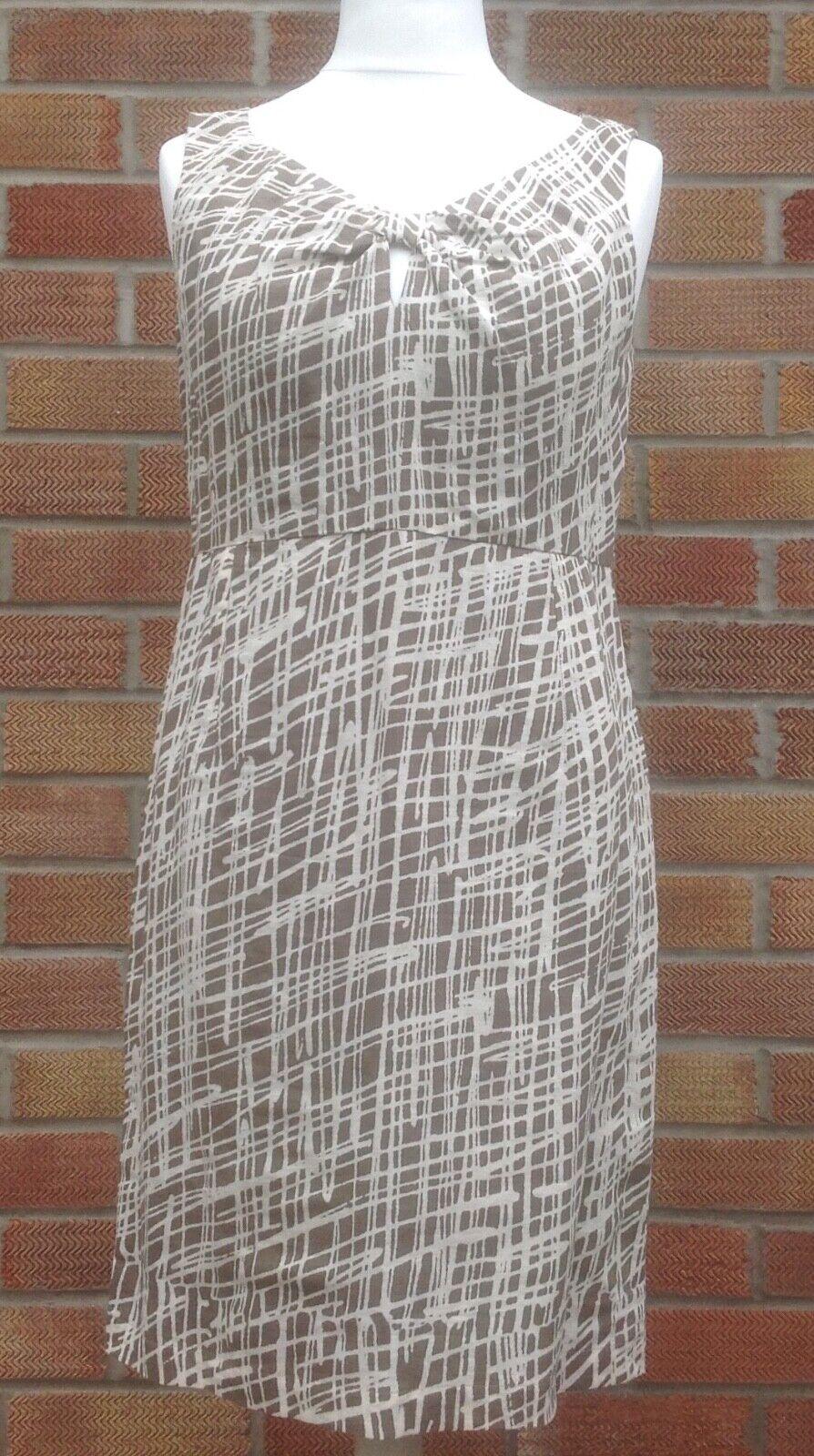 Great Plains linen cotton sleeveless pencil dress size M back zip knee length