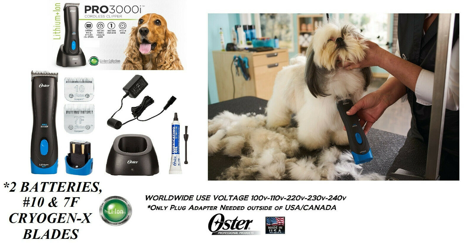Oster PRO 3000i Cordless CLIPPER SET,10&7F BLADE&2 BATTERY*Li Ion Rechargeable