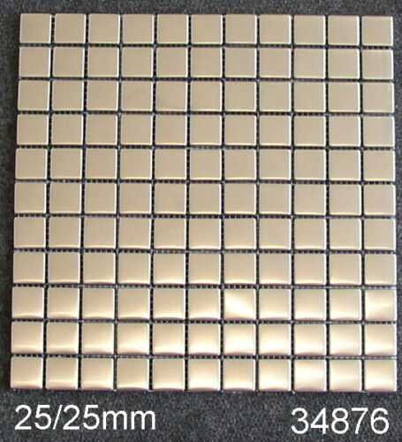 121Stück Edelstahl Mosaik Bordüre 25//25mm seidenmatt auf Netz 34876 1Blatt o