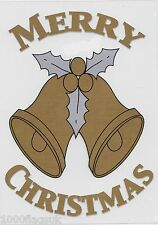 Christmas Cling On Vinyl Car Window Sticker - Gold Bells cc6