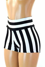 SMALL High Waist Black/White Stripe Jail Referee Rave Booty Shorts Ready To Ship