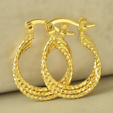 Lovely 9K Yellow Gold Filled Embossed Womens Hoop Earing