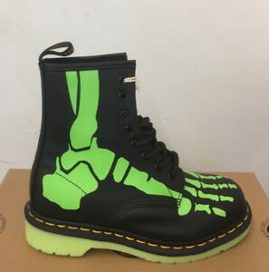 Dr-Martens-Skelly-Negro-Botas-De-Cuero-T-Skelly-impresion-Softy-Size-UK-3