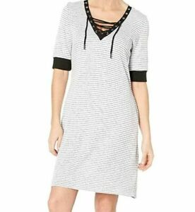 241-Tribal-Women-039-s-White-Striped-Elbow-Sleeve-Lace-Up-Tie-Neck-Dress-Size-Small