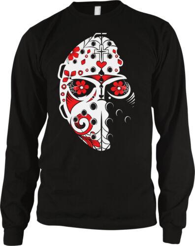 Hockey Mask Sugar Floral Skull Calavera Cross Dia de Muertos Long Sleeve Thermal
