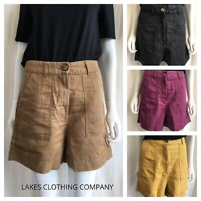 New M/&S Womens Ladies Navy Linen Rich Holiday Beach Summer Shorts Size 8-24