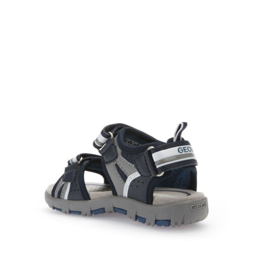 GEOX SANDALS CHILD//BOY FABRIC AND LEATHER NAVY//BLUE GRAY LINE PLANET J6264B